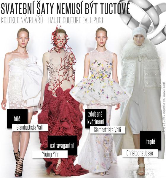 Svatební šaty nemusí být zcela tradiční. Popusťte uzdu své fantazie a inspirujte se luxusními róbami z Haute Couture Fall 2013.