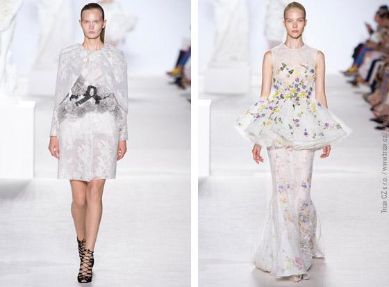Svatební šaty z kolekcí Haute Couture Fall 2013: svatební šaty 2x Giambattista Valli, Elie Saab, Armani Prive.