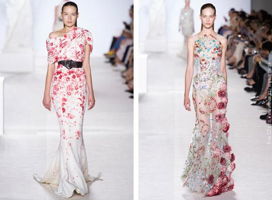 Svatební šaty z kolekcí Haute Couture Fall 2013: 2x svatební šaty Alexis Mabille, 2x svatební šaty Giambalista Valli.