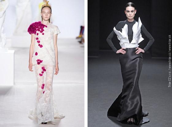 Svatební šaty z kolekcí Haute Couture Fall 2013: svatební šaty Yiqing Yin, svatební šaty Iris van Herpen, svatební šaty Giambattista Valli, svatební šaty Stephane Rolland.