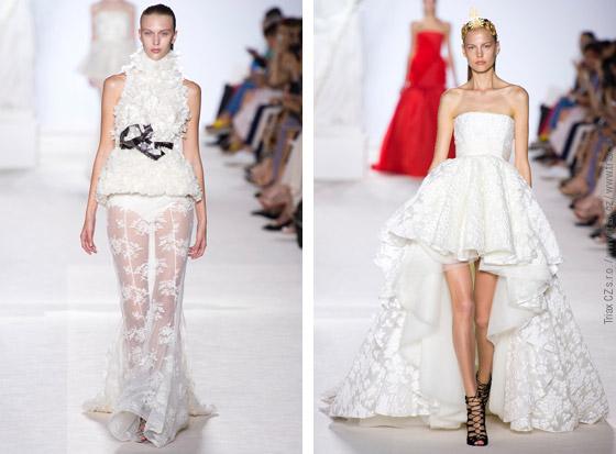 Svatební šaty z kolekcí Haute Couture Fall 2013: svatební šaty Giambattista Valli, 2x svatební šaty Christophe Jossé a svatební šaty Chanel.