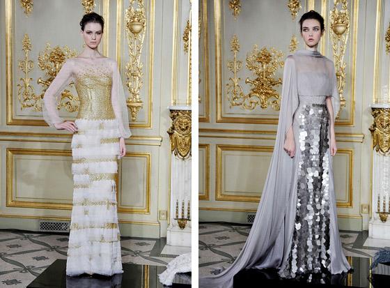 Svatební šaty z kolekcí Haute couture Fall 2013: svatební šaty 3x Rami al Ali a svatební šaty Oscar Carvallo.