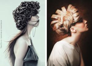 Vlevo nominovaný účes z kolekce Lucie Molnárové, vpravo účes z kolekce Patrika Hagary.