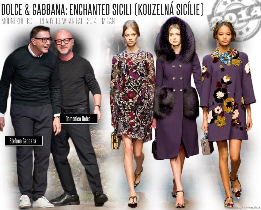 Návrhářská dvojice Domenico Dolce a Stefano Gabbana se svými modely z RTW kolekce Enchanted Sicili (Kouzelná Sicílie) pro podzim a zimu 2014/15.