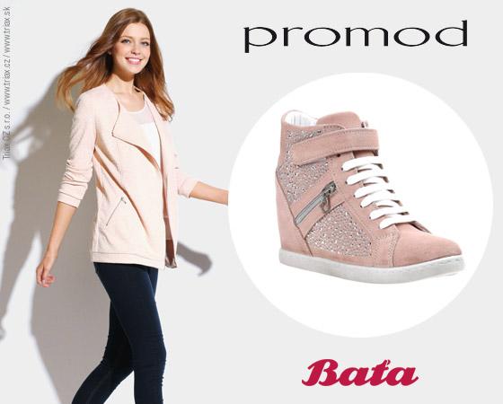Pro větší názornost jsme vybrali outfity z jarního lookbooku Promod a obuli jsme k ním Wedge crush tenisky Baťa.