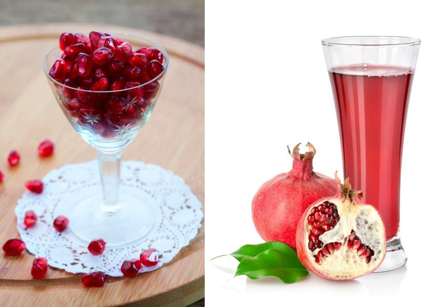 V obchodech jsou k dostání čerstvá jablíčka, šťáva z granátových jablek nebo například sušená jadérka z granátových jablek.