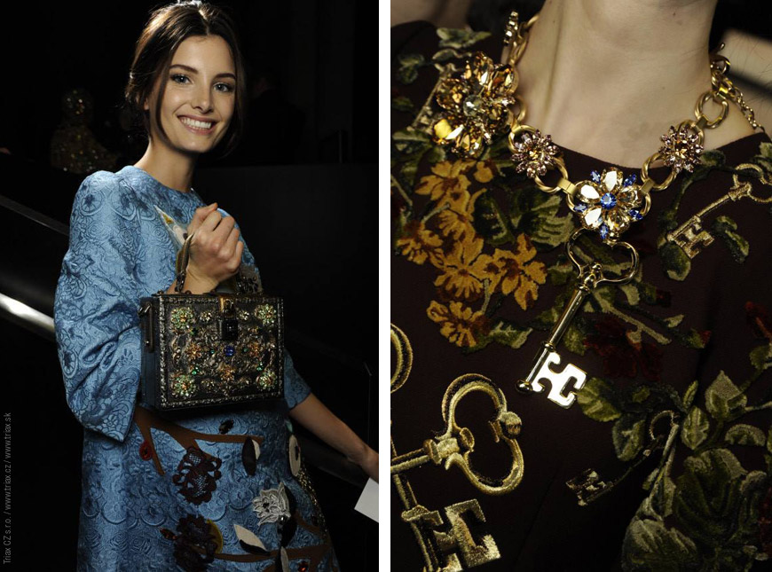 """Doplňky z kolekce Dolce&Gabbana jsou """"zlatou korunkou"""" celé kolekce."""