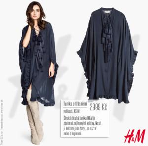 """Široká dlouhá tunika H&M je zdobená zajímavými volány. Nosit ji můžete jako šaty """"na ostro"""" nebo s leginami. Nevýhodou je, že H&M doporučuje ruční praní. No u mne se bude muset spokojit s ručním programem mojí automatické pračky! Cena: 2999 Kč."""