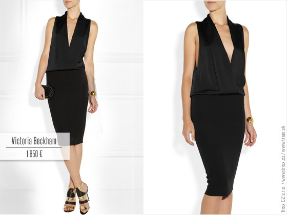 Tuxedo styl na šatech z kolekce Victoria Beckham. Ideální jako malé černé, ale také jako business šaty do práce.