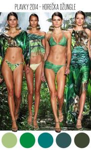 Zelené plavky ve všech odstínech pralesa, doplněné obrazy flóry a etnoprvků zemí Jižní Ameriky s deštnými pralesy, jsou hlavními znaky dalšího plavkového trendu pro rok 2014.