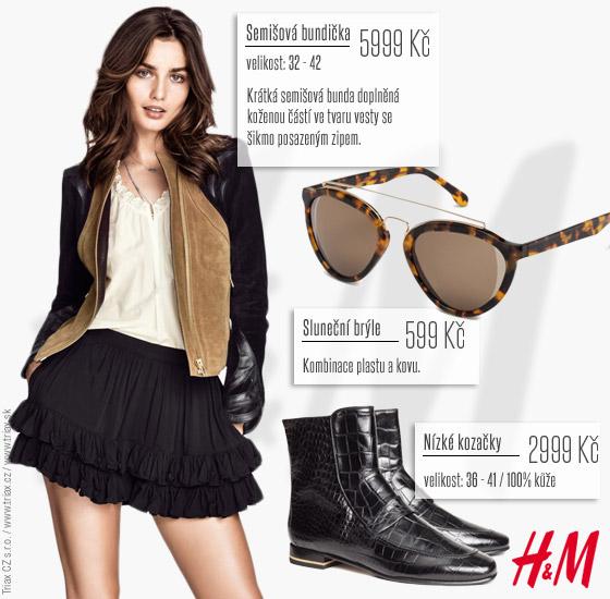Unikátní jacket z kolekce H&M doladíte s módními nízkými kozačkami a brýlemi.