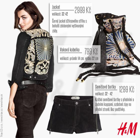 Výšivka na zádech krátké bundy H&M přesně ladí s výšivkou na kabelce. Outfit můžete doladit šortkami.