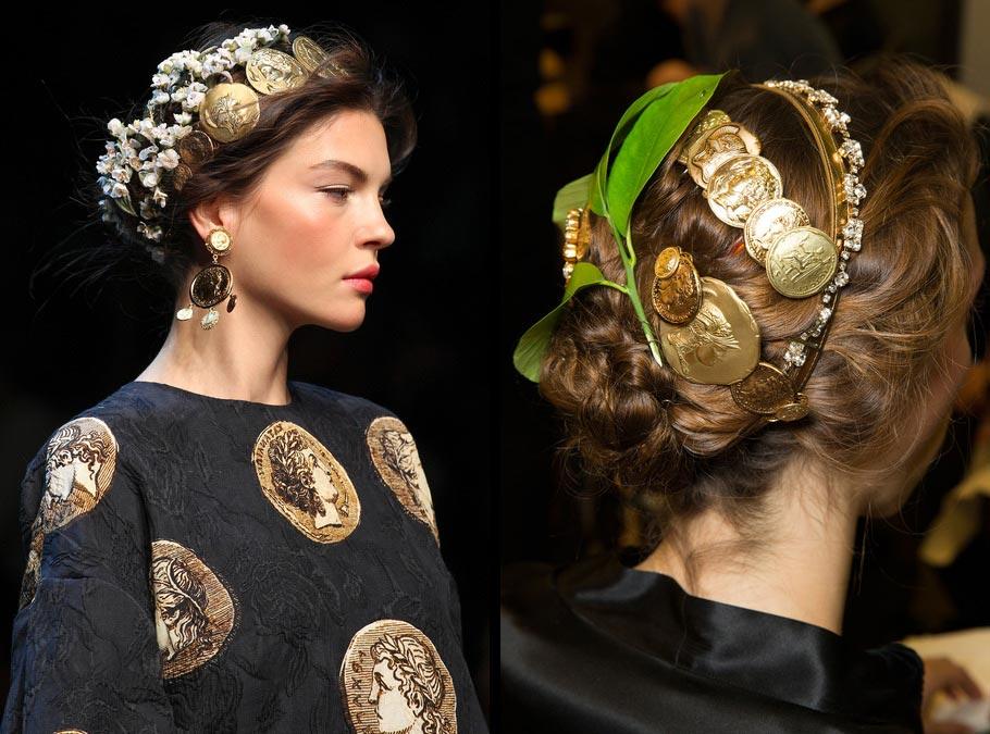 Účesy pro jaro a léto 2014: Ozdobte vlasy doplňky stejně jako Dolce&Gabbana
