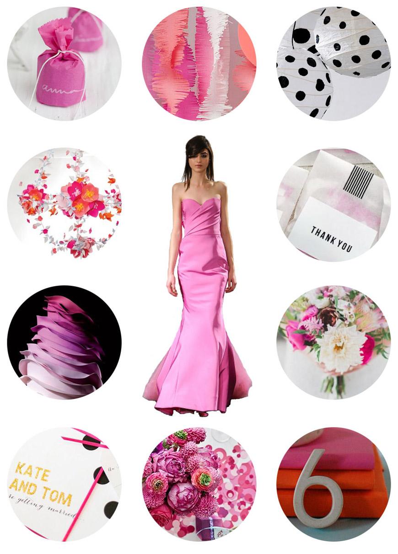 Blogerka Vané Broussard se inspirovala růžovou kolekcí svatebních šatů Vera Wang a navrhla design pro svatební tabuli i svatební kytici.