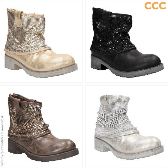 Nízké kozačky CCC zdobí stříbrné, měděné a zlaté odlesky. (Cena: 899 Kč)