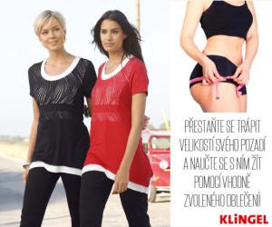 Velký zadeček vhodně zamaskují tmavé kalhoty správného střihu i delší trička nebo topy.