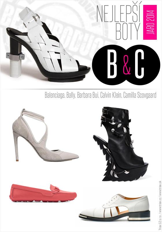 Boty pro jaro a léto od top světových značek: Calvin Klein, Balenciaga, Bally, Barbara Bui, Camilla Scovgaard.