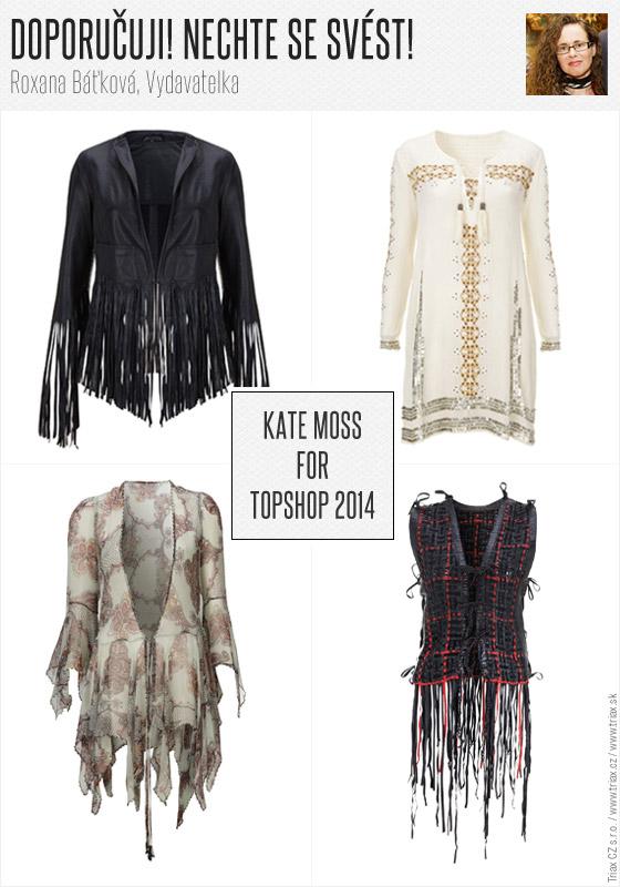 Nechte se svést! Z kolekce Kate Moss bych si určitě vybrala některý z třásňových modelů. Fascinující je vesta i krejčovsky velice povedené sako. A i když to není můj styl, nejspíš neodolám některému z bohémsky uvolněných modelů. Do práce v nich nejspíš nevyrazím, ale v létě si je rozhodně užiji. Fascinující jsou také modely inspirované módou 20. let z části kolekce nazvané Tailoring noir. (Roxana Báťková, Publisher)