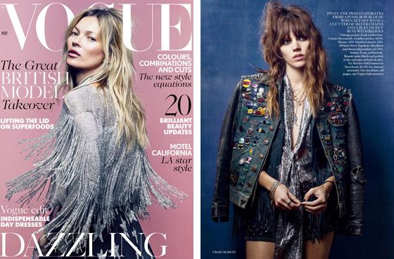 Kate Moss se se svojí kolekcí pro Topshop objevila na titulní stránce britské edice Vogue. Časopis kolekci představil nafocenou na modelce Freja Beha Erichsen.
