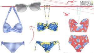 Nebesky krásné pozemšťanky z nás udělají plavky Marks&Spencer s blankytně modrými vzory. Vsadit můžete na retro čtverečky, na bio květiny i na netradiční barevné kombinace.