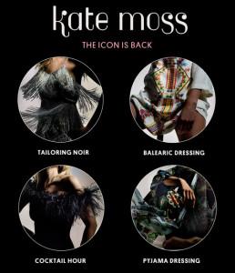 Kate Moss rozdělila svoji kolekci pro Topshop do čtyřech módních témat.