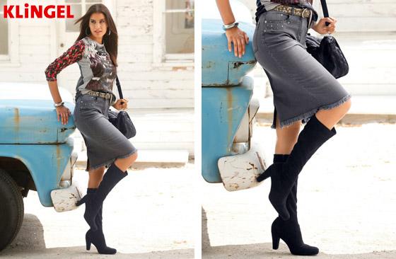 Džínová sukně KLiNGEL v 5-kapsovém střihu s pískovaným efektem na přední a zadní části. Tubový střih a rozumně posazený pas nezdůrazňují zadeček. (Cena: 1199 Kč)