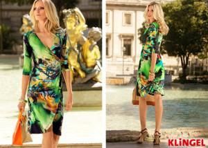 Jersey šaty KLiNGEL v zavinovacím provedení mají celoplošný potisk. Malé řasení na přední části hezky tvaruje postavu a sluší i většímu poprsí. (Cena: od 2999 Kč)