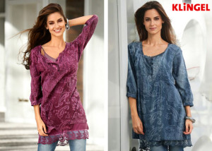 Tunika KLiNGEL v petrolejové a malinové barvě se dokonale hodí k větším prsům a skvěle doplní váš outfit s džínsy. (Cena od: 1190 Kč)
