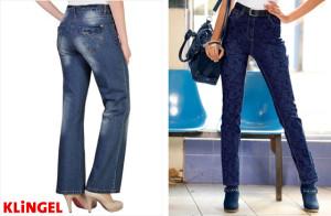 Vlevo: Boot cut střih kalhot. Vpravo: Slim fit střih kalhot. (Oba modely jsou z katalogu KLiNGEL.)