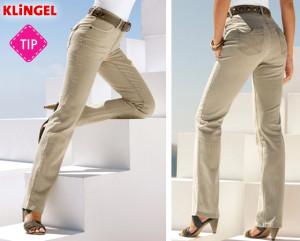 Úžasným kouskem pro váš šatník budou džíny v 4-kapsovém střihu s podélnými proužky. Našité zadní kapsy jsou s klopou s knoflíkem. Přední kapsy mají kontrastní lemování. (Cena: 1199 Kč)