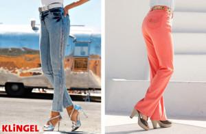 Vlevo: legíny napodobující džínsy. Vpravo: Kalhoty ve střihu Regular fit. (Oba modely jsou z katalogu KLiNGEL.)