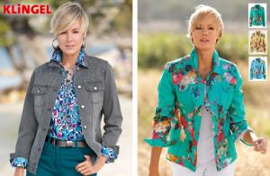 Vlevo: Džínová bunda Laura Kent je sice v neutrální šedé, avšak bohatě ji zdobí skleněné kamínky. (Cena: 1349 Kč) Vpravo: Džínový kabátek z kolekce KLiNGEL je s košilovým límcem a knoflíkovou légou. Má dvě náprsní klopy s knoflíkem a dlouhé rukávy s manžetou s knoflíkem. Vpředu a vzadu je kabátek s dělícím šitím a sedlem. (Cena: 1499 Kč)