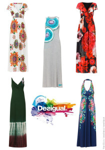 Dlouhé šaty z kolekce Desigual nabízí v této sezóně etno a folklórní vzory, módní hru s krajkou, batikované vzory i osvěžující malované geometrické vzory.