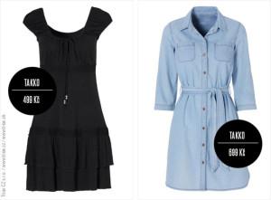 Šaty z Takko: černé minišaty Takko s perlami (499 Kč / 19,99 €) a extra módní džínové košilové šaty (699 Kč / 24,99 €).