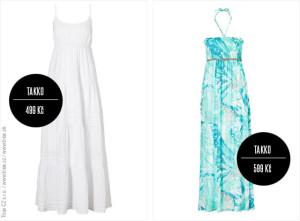 Šaty z Takko: dlouhé bílé vintage šaty (499 Kč / 19,99 €), vzorované maxišaty Takko (599 Kč / 19,99 €)