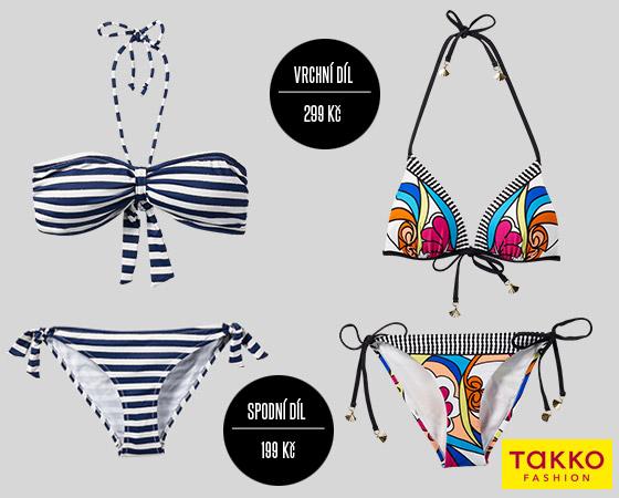 Plavky Takko Fashion nabízí módní vzory – květinové ornamenty i námořnické pruhy.
