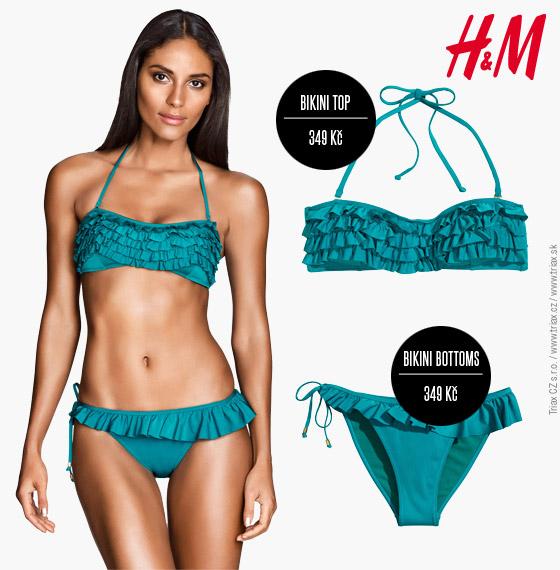 Plavky H&M: top model z kolekce pro léto 2014 zdobí úžasné volánky připomínající vlny.