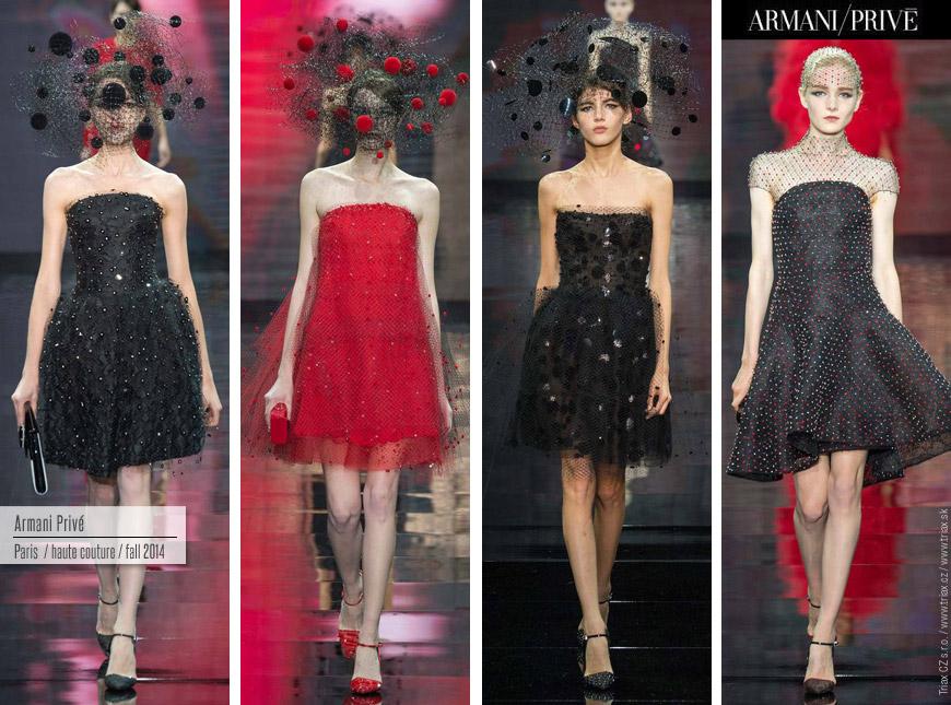Netradiční svatební šaty mohou být i krátké. Ty od Armani Privé navíc osvěžily fantastické puntíky.
