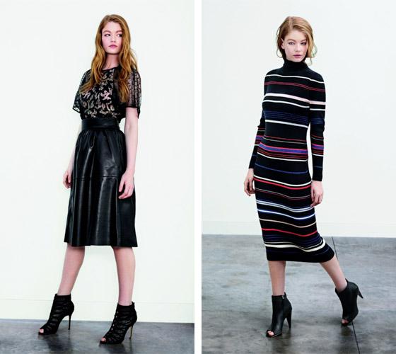 Úpletové šaty a kožená midisukně s krajkovým tričkem. Oba modely jsou z kolekce Karen Millen pro podzim/zimu 2014.