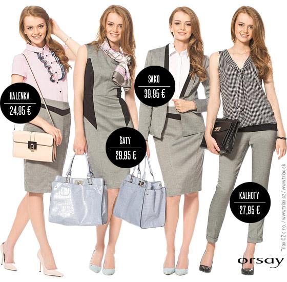 Sukně Orsay v kombinaci s romantickou halenkou, pouzdrové šaty Orsay do kanceláře, byznys dámský smoking a jednoduchý elegantní kalhotový outfit – všechny tyto kousky Orsay oblečení můžete spolu navzájem snadno kombinovat.