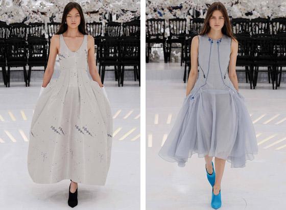 Raf Simons kombinoval své kotníkové boty Dior také do outfitů s večerními šaty nebo s party koktejlovými šaty.