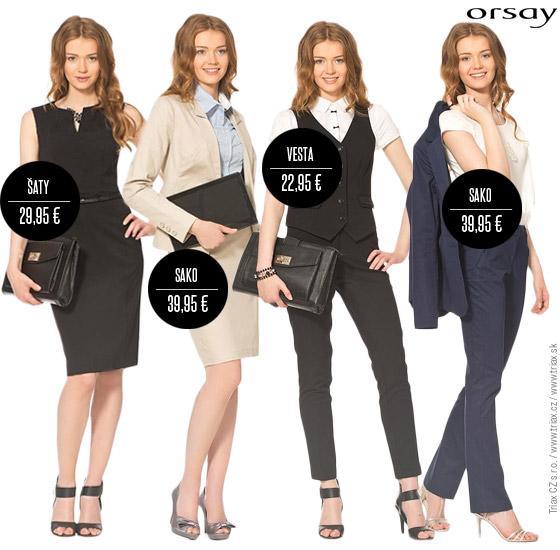 Orsay vás obleče do kanceláře. Zkuste nové outfity – oblečení Orsay z této kolekce snadno nakombinujete. Sako, vesta, halenka, kalhoty, sukně i šaty – to vše můžete kombinovat v jedné nebo ve více barvách.