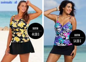 Plavky se sukní jako tankiny – vrchní díl je top, spodní sukně.