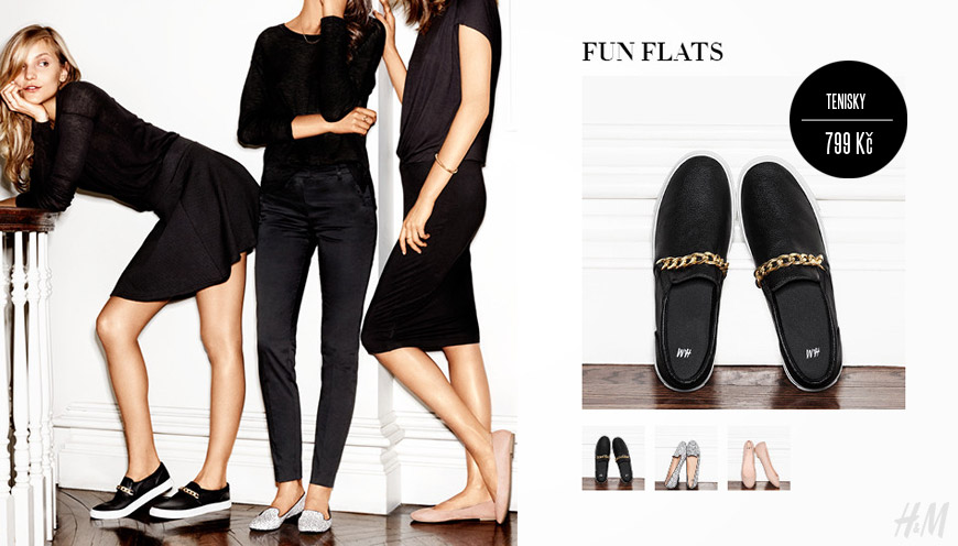 H&M obuv můžete kombinovat i s oblečením inspirovaným sportovními prvky. Ploché loafers jsou ideální.