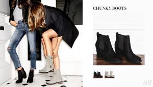 Obuv H&M v podobě tzv. Chunky boots se hodí jako sexy obutí pro léto i jako praktické boty pro podzim.