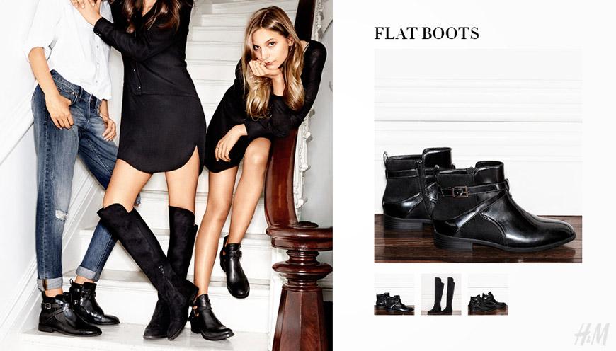 Ploché HM boty mají výšku po kotníky i přes koleno.