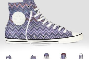 Conversky Missoni s cik-cak vzory: kotníkové konversky ve fialové barvě z kolekce converse x missoni chuck taylor all star.