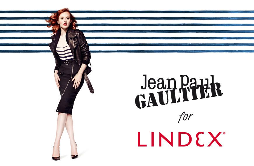 Tváří kampaně Gaultier x Lindex je modelka Karen Elson.