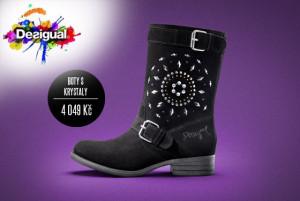Černé boty Desigual z kolekce podzim/zima 2014/15 zdobí Swarovsi krystaly.