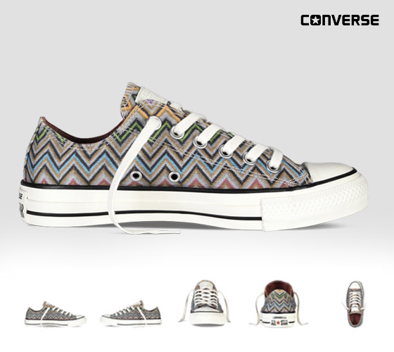 Conversky Missoni s cik-cak vzory: multibarevné nízké konversky z kolekce Converse x Missoni Chuck Taylor All Star.